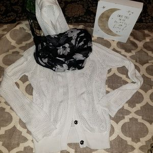 Michael Kors Crocheted Button Down Hooded Sweater